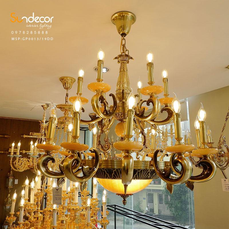 Đèn Chùm Đồng Đá Tân Cổ Điển Cao Cấp - SP005157 mẫu đèn chùm đồng cổ điển